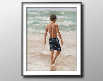 Boy on beach - Painting -Wall art - Canvas Print - Fine Art - from original oil painting by James Coates