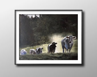 Cows - Painting-Poster -Wall art - Canvas Print - Fine Art - from original oil painting by James Coates