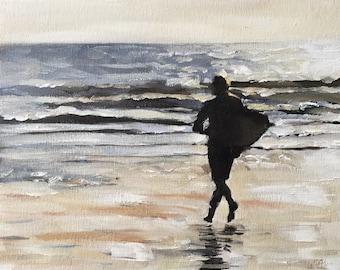 Surfer Painting Surfer Art PRINT Surfing Beach Sea Surfer - Art Print  - from original painting by J Coates