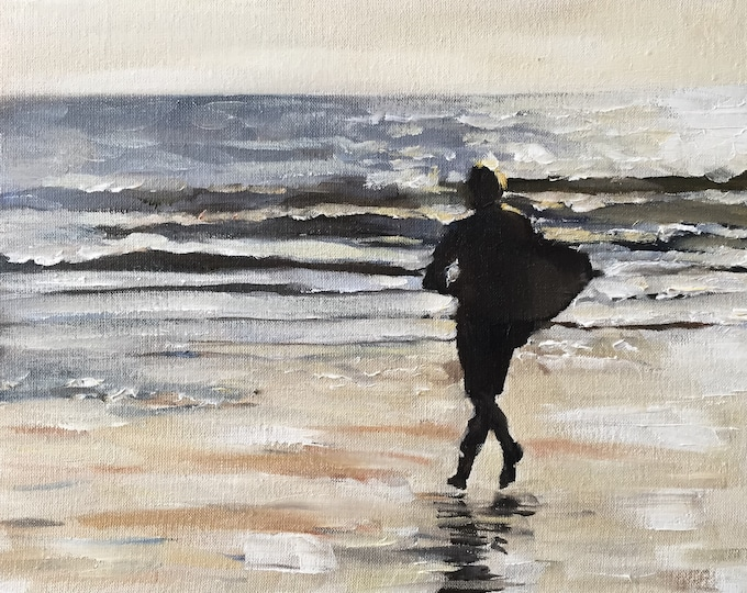 People Painting - Beach art - Beach Print - Fine Art - from original oil painting by James Coates