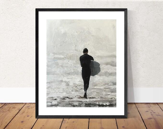 Surfing Art PRINT, Surfer Art, Beach Surf Sun, Ocean Waves, Surfer Gift, Surfing Painting, Gift for Surfer, Beach House Decor, Bathroom Art