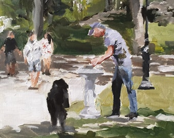 Central Park Painting New York Painting Art PRINT Walking in Central Park - Art Print - from original painting by J Coates