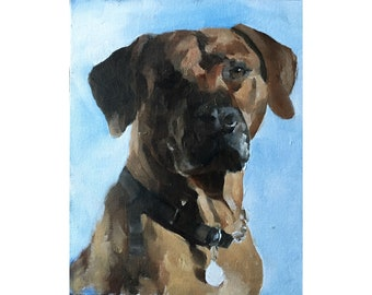 Dog Painting, Brown Dog Art PRINT - Art Print - Dog Lovers, from original painting by J Coates