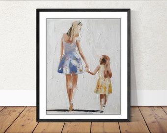 Mother and daughter - Painting -Wall art - Canvas Print - Fine Art - from original oil painting by James Coates