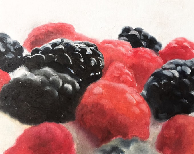 Raspberries Painting - Food art  -  Canvas and Paper Prints  Fine Art  from original oil painting by James Coates