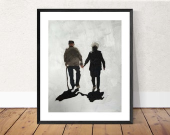 Old Couple Painting Couple Art PRINT old Couple - Art Print  - from original painting by J Coates