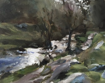River Painting River Art PRINT Peak District Art Painting Padley Gorge Peak District - Art Print  - from original painting by J Coates