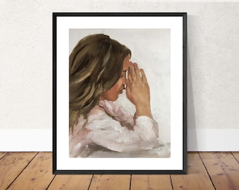 Praying - Painting - Poster - Wall art - Canvas Print - Fine Art - from original oil painting by James Coates