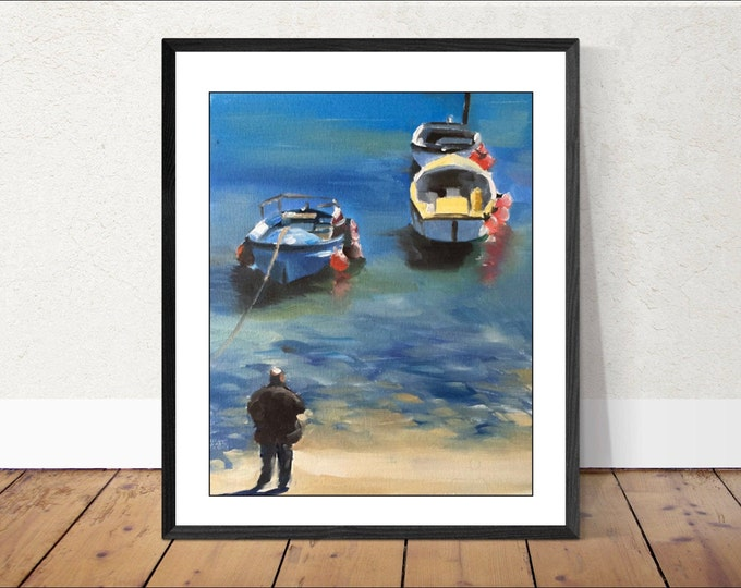 Boats- Painting Beach art - Beach Prints - Fine Art - from original oil painting by James Coates