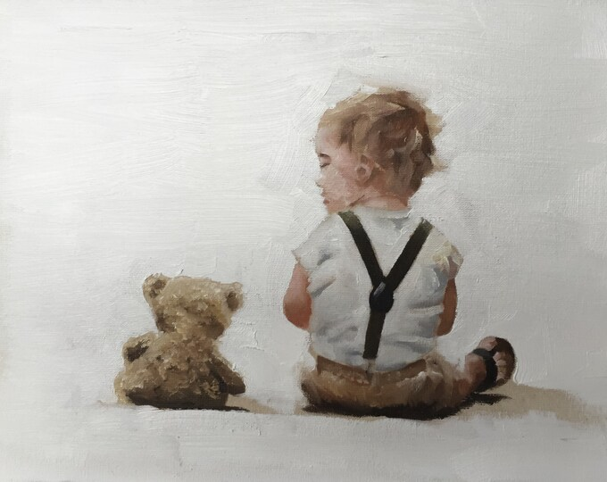 Boy with Bear Painting Boy With Bear Art PRINT Little Boy With Teddy Bear - Art Print  - from original painting by J Coates