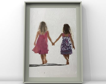 Siblings , best friends - Painting - Poster - Wall art - Canvas Print - Fine Art - from original oil painting by James Coates