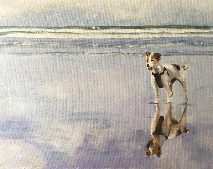 Dog on Beach Painting dog Beach Art PRINT Beach Dog - Art Print - from original painting by J Coates