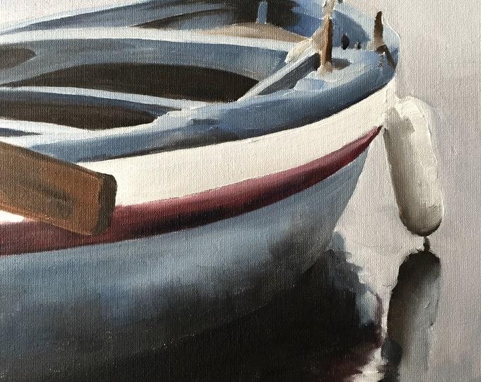 Boat Painting Boat Art PRINT Boat Beach Sea Surfer - Art Print  - from original painting by J Coates