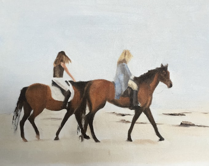 Horse riding on beach - Painting -Wall art - Canvas Print - Fine Art - from original oil painting by James Coates