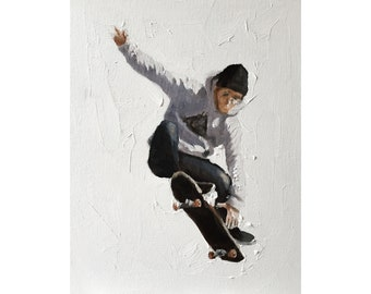Skateboarder Painting Skating Art PRINT Skateboarder - Art PRINT - from original painting by J Coates
