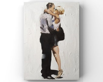 Couple kissing Painting - Poster - Wall art - Canvas Print - Fine Art - from original oil painting by James Coates
