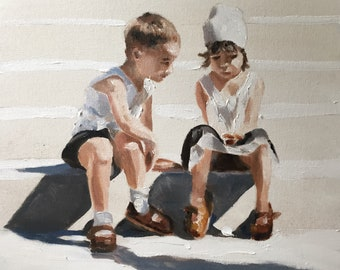 Boy and Girl Painting PRINT Brother and Sister Boy Girl Art Young Love - Holding Hands - Art Print  - from original painting by J Coates