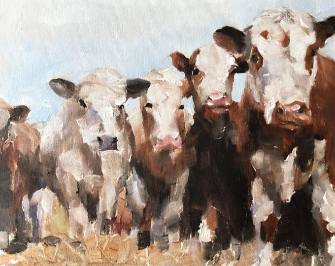 Cows Painting- Cow art - Cow Print - Fine Art - from original oil painting by James Coates