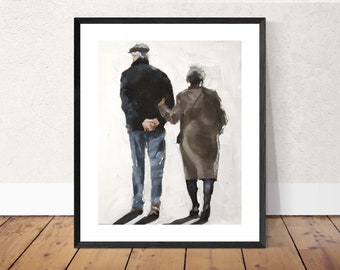 Old Couple Painting Couple Art PRINT Old Couple Walking - Art Print - from original painting by J Coates
