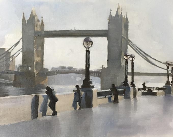 London Tower Bridge Painting London Art London PRINT London in the Rain - Art Print - from original painting by J Coates