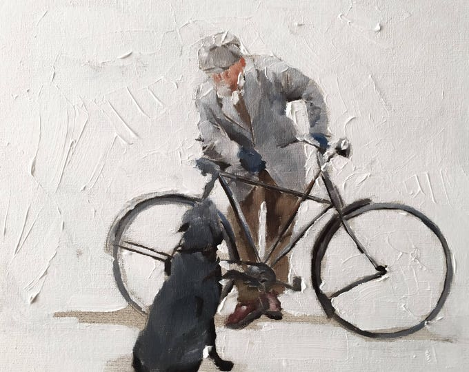 Man with bike - Painting - Poster - Wall art - Canvas Print - Fine Art - from original oil painting by James Coates