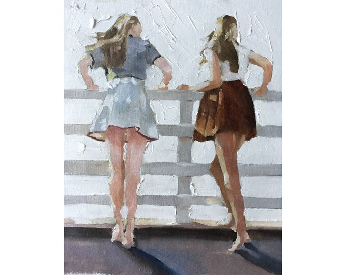 Two Women Best Friends Painting Girlfriends Painting Friends Art PRINT Friends Shopping  - Art Print - from original painting by J Coates