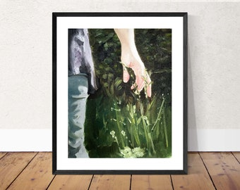 Woman Painting Mother Art Mother Painting Art PRINT Blades of Grass - Woman in Field  - Art Print - from original painting by J Coates