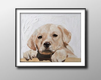 Puppy dog - Painting - Poster -Wall art - Canvas Print - Fine Art - from original oil painting by James Coates
