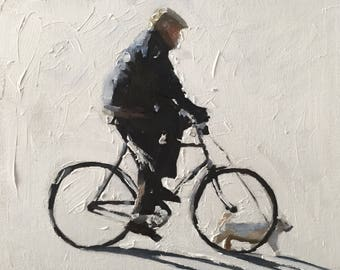 Man cycling - Painting -Wall art - Canvas Print - Fine Art - from original oil painting by James Coates