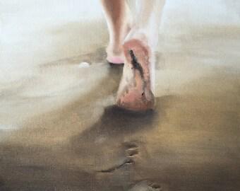 Beach Painting Beach Art Beach PRINT Beach Feet - Art Print - from original painting by J Coates