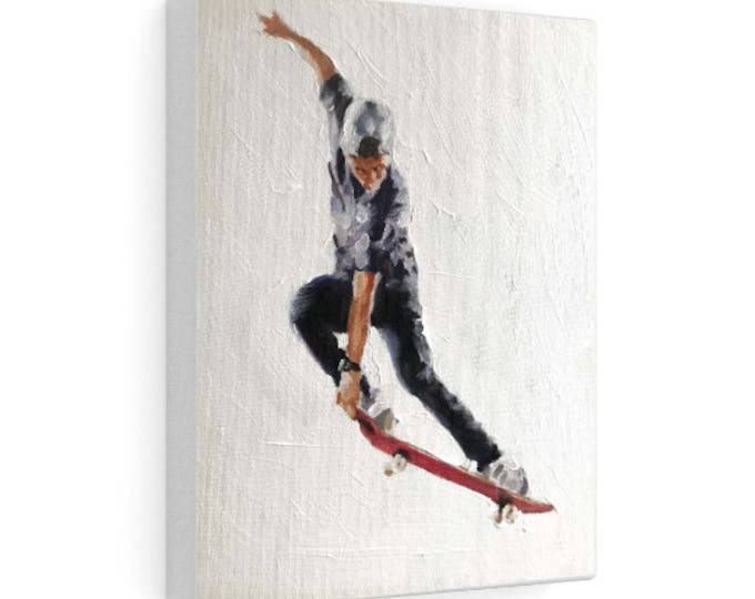 Skateboarder Painting,PRINTS, Canvas Poster, Commissions, Fine Art - from original oil painting by James Coates