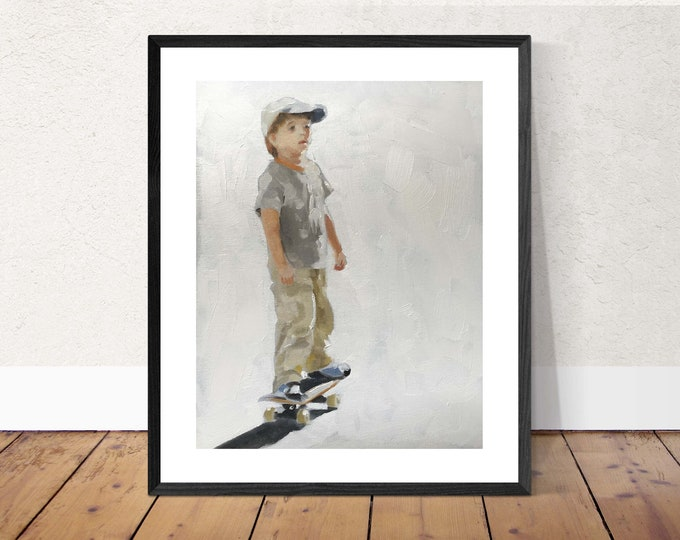Little boy painting - life art - Canvas Print - Fine Art - from original oil painting by James Coates