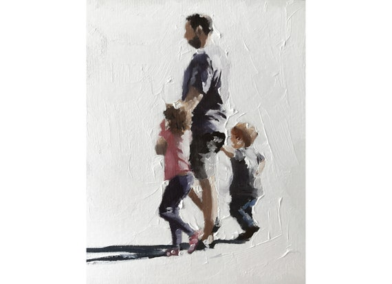 Father and  Kids Father Art Father PRINT Father with Children - Art Print - from original painting by J Coates