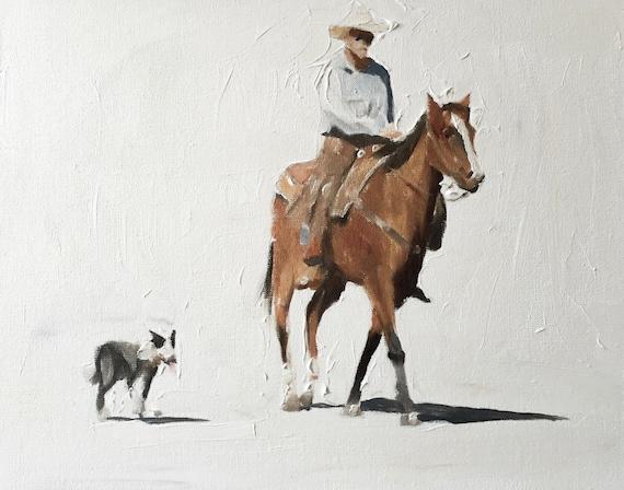 Horse Painting Horse Art PRINT Man Dog Horse Cowboy Art