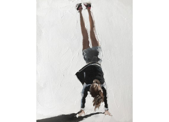 Girl Handstand Painting PRINT Cartwheel - Art Print - from original painting by J Coates