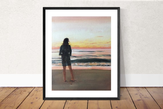 Woman Walking Alone On Beach Painting Walking Art PRINT  - Art Print  - from original painting by J Coates