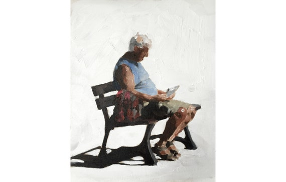 Man Father Bench Painting Man on Bench art PRINT Man on Bench - Art Print - from original painting by J Coates