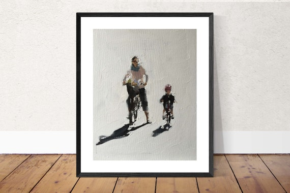 Mother Painting Mother Art Mother PRINT Mother and Child Cycling Art Print  - from original painting by J Coates