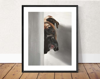 Boxer dog Painting, Dog art, Dog Print, Fine Art - from original oil painting by James Coates