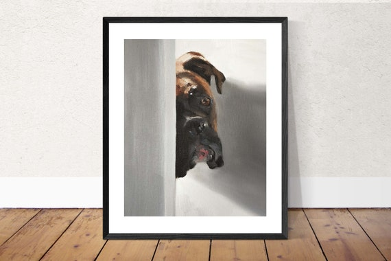Boxer Dog Art Print, boxer dog gifts - Boxer Dog Painting - PRINT- Boxer Dog Wall Art - dog painting, boxer artwork, boxer lover gift