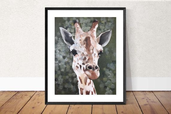 GIRAFFE PAINTING - giraffe PRINT, animal art, giraffe art print, giraffe decor, giraffe gift, giraffe lover, zoo animal print