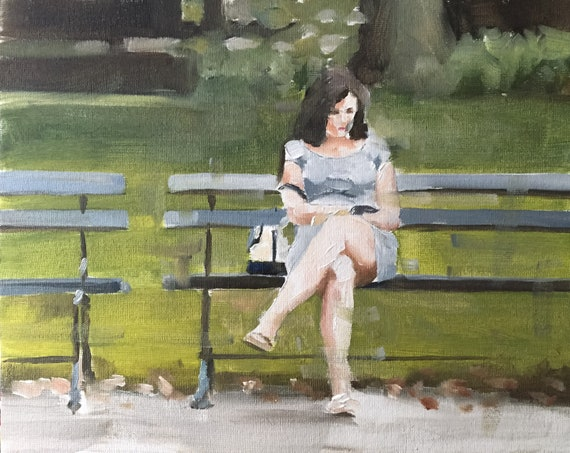 Woman on Bench Painting Woman Art PRINT Woman on Bench - Art Print - from original painting by J Coates Original Oil Painting or Print