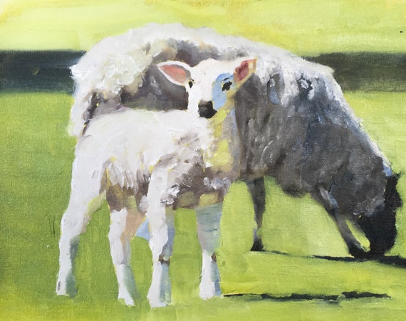 Sheep Painting Sheep Art PRINT sheep picture - Art Print - from original painting by J Coates