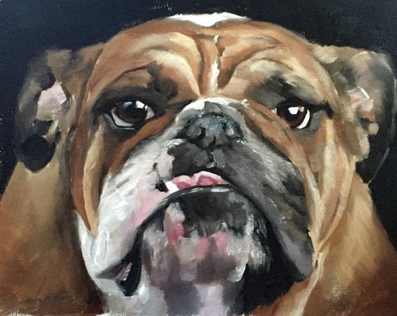 Bull Dog Painting Bull Dog Art Bull Dog PRINT Bull Dog - Art Print  - from original painting by J Coates