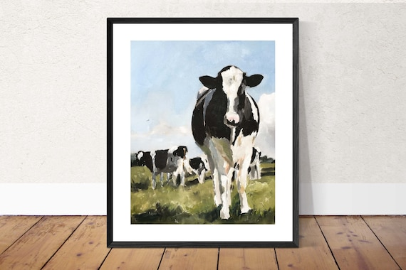 Cow Painting, Cow Art, Cow PRINT - Cow Oil Painting, Holstein Cow, farm animal art, holstein cow picture, rustic farmhouse prints