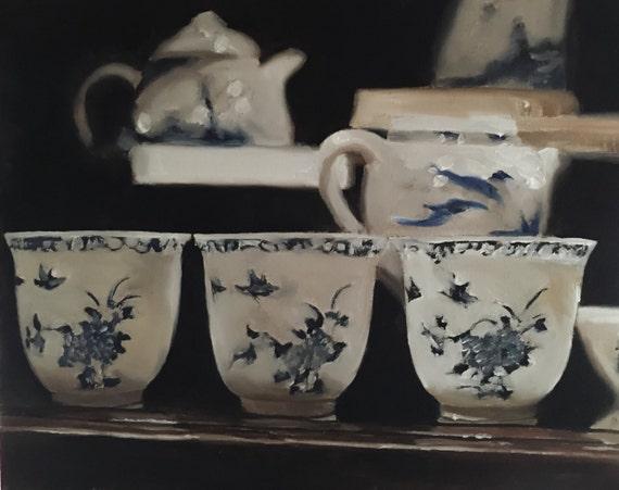 Tea Painting Tea Art Tea PRINT Tea cups - Art Print - from original painting by J Coates