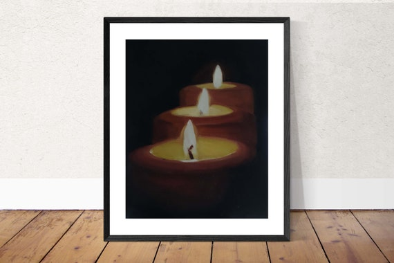 Candles Art Candles Painting Candles PRINT Candles - Boy and Girl Holding Hands - Art Print - from original painting by J Coates