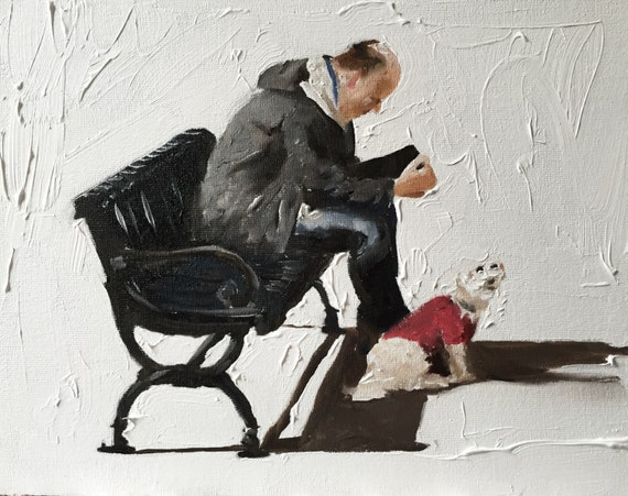 man with Dog Painting Man Dog Art Dog Man PRINT Man on Bench With Dog - Art Print - from original painting by J Coates