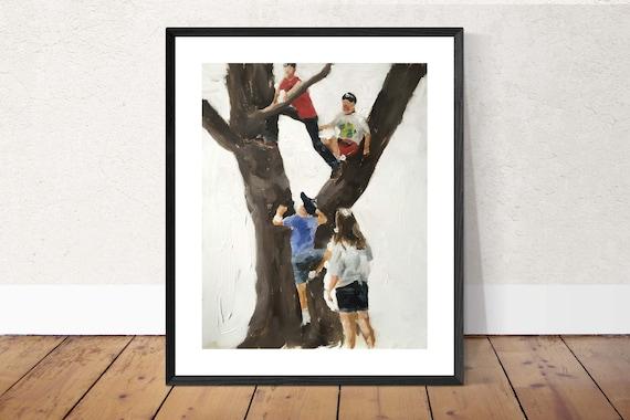Climbing Trees Art Tree Climbing Painting Tree Climbing Art PRINT Tree Climbing - Art Print - from original painting by J Coates