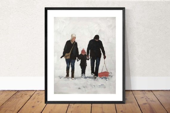 Family Art Family Painting art PRINT Family Sledging in Snow - Art Print  - from original painting by J Coates
